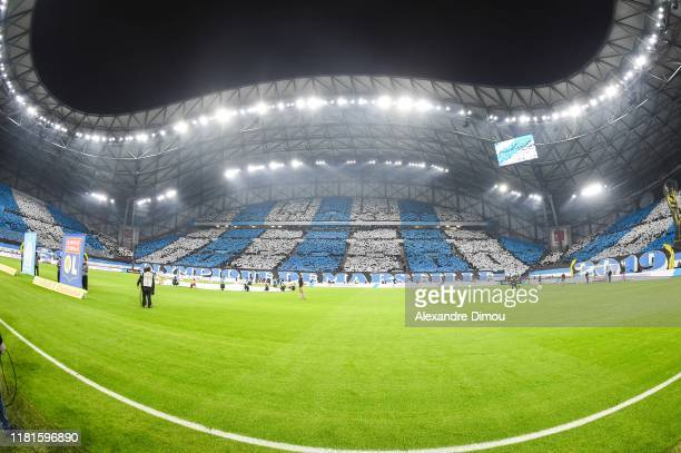 General view of Stade Velodrome during the Ligue 1 match between Marseille and Lyon at Stade Velodrome on November 10, 2019 in Marseille, France.