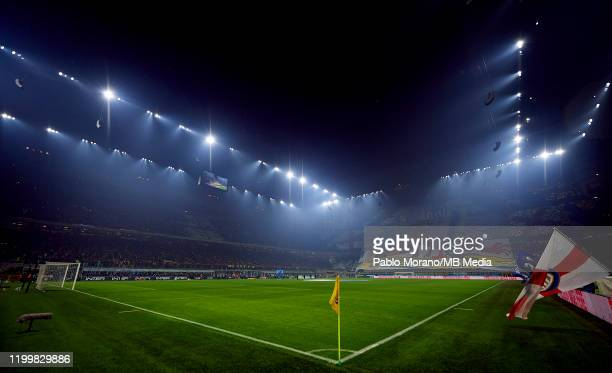 General view of Stadio Giuseppe Meazza prior the Serie A match between FC Internazionale and AC Milan at Stadio Giuseppe Meazza on February 9, 2020...