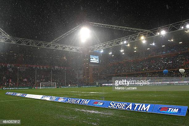 A general view of Stadio Luigi Ferraris before the Serie A match between UC Sampdoria and Genoa CFC suspended because of heavy rainfall on February...