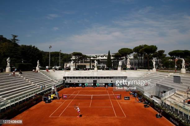 General view of Stadio Nicola Pietrangeli as Amanda Anisimova of the United States serves in her round one match against Donna Vekic of Croatia...