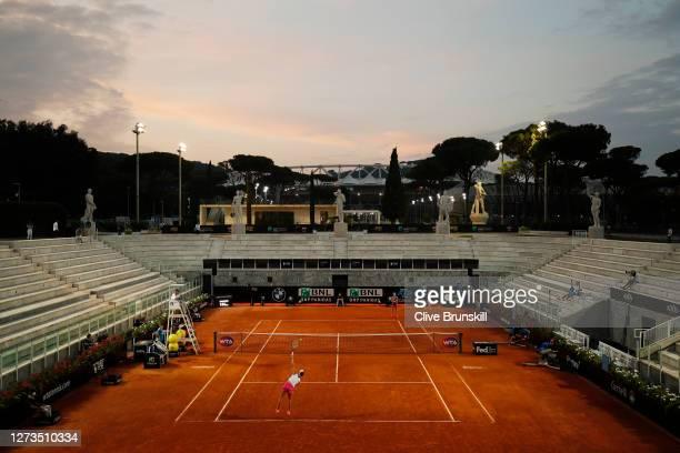 General view of Stadio Nicola Pietrangeli as Marketa Vondrousova of The Czech Republic serves in her quarter-final match against Elina Svitolina of...
