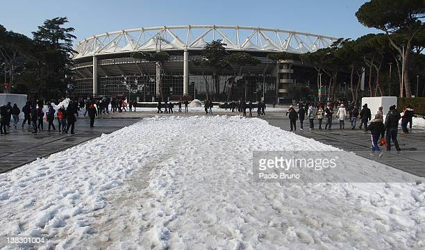 A general view of Stadio Olimpico after snow fall before the Serie A match between AS Roma and FC Internazionale Milano at Stadio Olimpico on...