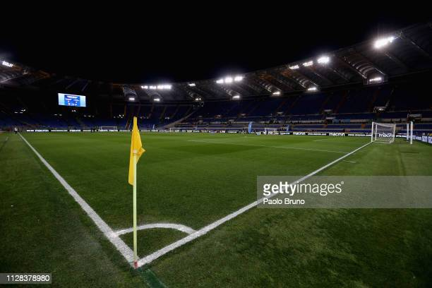 General view of Stadio Olimpico before the Serie A match between SS Lazio and AS Roma at Stadio Olimpico on March 2, 2019 in Rome, Italy.
