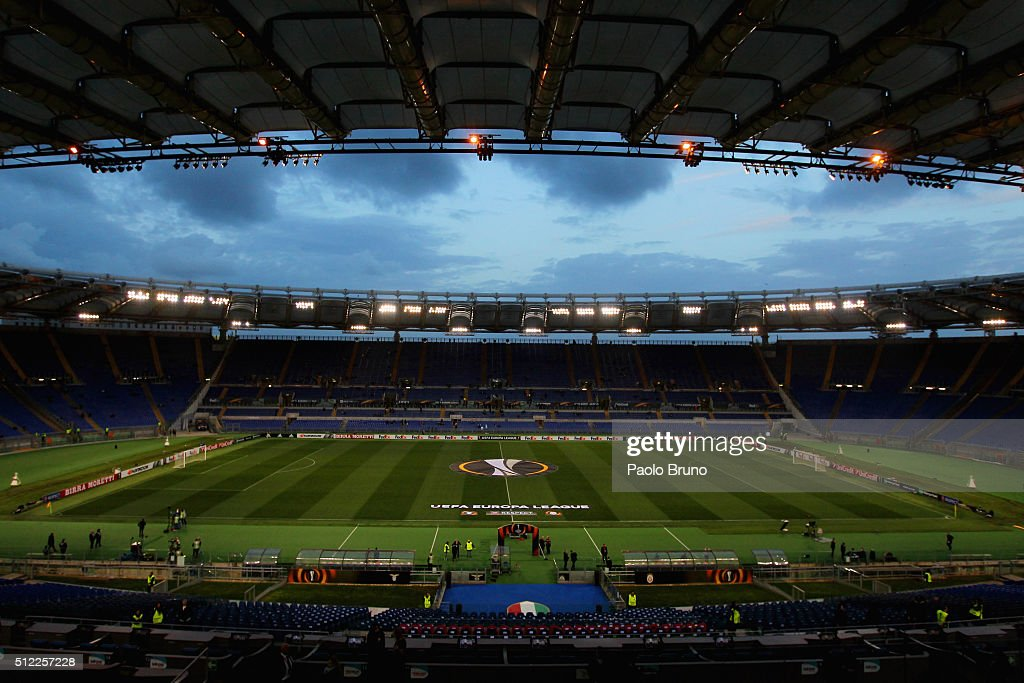 A general view of Stadio Olimpico before the UEFA Europa League Round of 32 second leg match between Lazio and Galatasaray on February 25, 2016 in Rome, Italy.