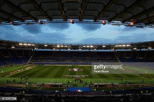 A general view of Stadio Olimpico before the UEFA Europa League Round of 32 second leg match between Lazio and Galatasaray on February 25 2016 in...