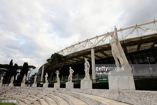 A general view of Stadio Olimpico before the UEFA Europa League Round of 16 second leg match between SS Lazio and Sparta Prague at Stadio Olimpico on...