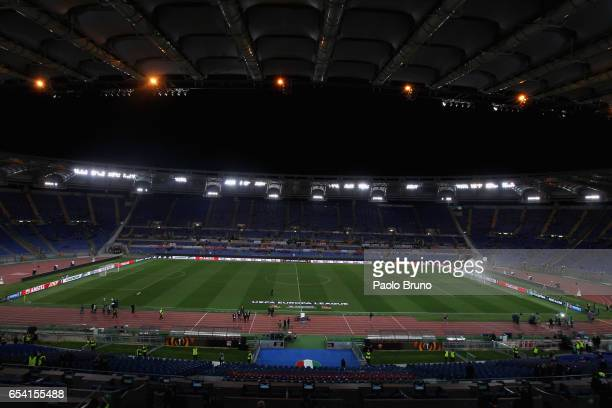 A general view of Stadio Olimpico before the UEFA Europa League Round of 16 second leg match between AS Roma and Olympique Lyonnais at Stadio...