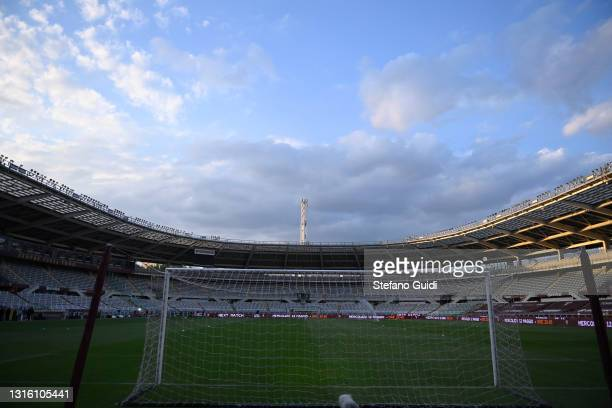 General view of Stadio Olimpico di Torino during the Serie A match between Torino FC and Parma Calcio at Stadio Olimpico di Torino on May 3, 2021 in...