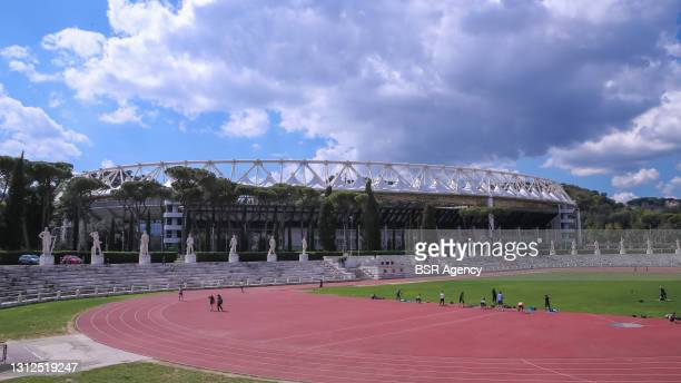 General view of Stadio Olimpico during the Ajax Training And Press Conference at Stadio Olimpico on April 14, 2021 in Rome, Italy