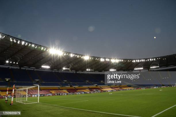 General view of Stadio Olimpico during the Serie A match between AS Roma and Udinese Calcio at Stadio Olimpico on July 02, 2020 in Rome, Italy.