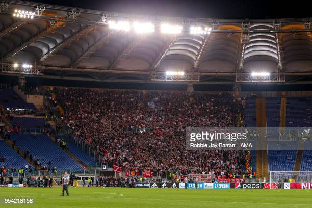 A general view of Stadio Olimpico home stadium of AS Roma at full time as fans of Liverpool are held behind during the UEFA Champions League Semi...