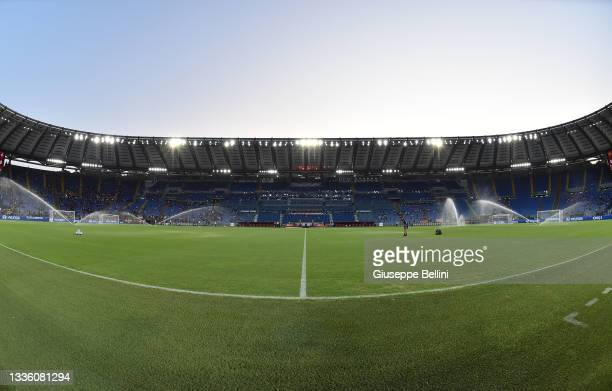 General view of Stadio Olimpico prior the Serie A match between AS Roma and ACF Fiorentina at Stadio Olimpico on August 22, 2021 in Rome, Italy.