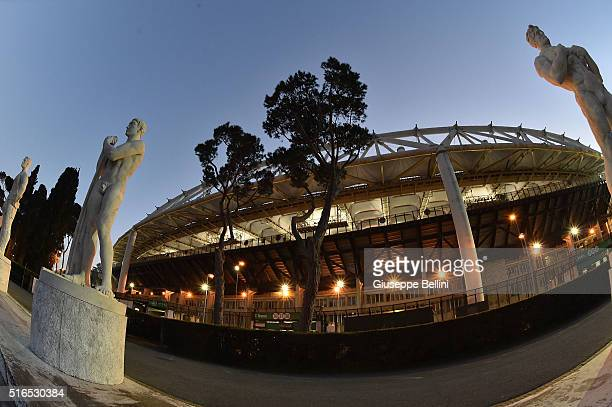 General view of Stadio Olimpico prior the Serie A match between AS Roma and FC Internazionale Milano at Stadio Olimpico on March 19 2016 in Rome Italy