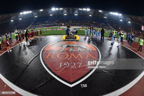 General View of Stadio Olimpico prior the TIM Cup match between AS Roma and SS Lazio at Stadio Olimpico on April 4 2017 in Rome Italy