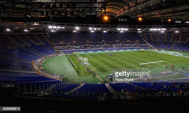 A general view of Stadio Olimpico without supporters after the disqualification for racist slogans before the Serie A match between SS Lazio and...
