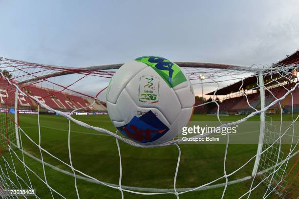 General view of Stadio Renato Curi with detail view of the match ball of Robe di Kappa prior the Serie B match between AC Perugia and Pisa SC at...