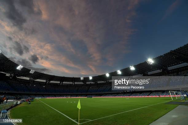 General view of Stadio San Paolo before the Serie A match between SSC Napoli and AS Roma at Stadio San Paolo on July 05, 2020 in Naples, Italy.