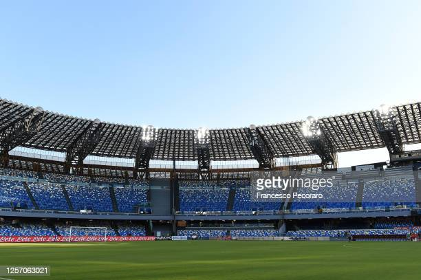 General view of Stadio San Paolo before the Serie A match between SSC Napoli and Udinese Calcio at Stadio San Paolo on July 19, 2020 in Naples, Italy.