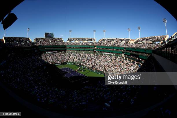 A general view of Stadium 1 as Roger Federer of Switzerland plays against Dominic Thiem of Austria during their men's singles final on day fourteen...