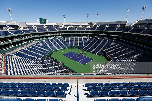 A general view of Stadium 1 during day two of the BNP Paribas Open tennis at the Indian Wells Tennis Garden on March 10 2015 in Indian Wells...