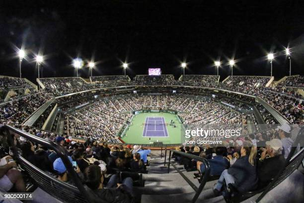 General view of Stadium 1 during the evening session of the BNP Paribas Open on March 10, 2018 at the Indian Wells Tennis Garden in Indian Wells, CA.