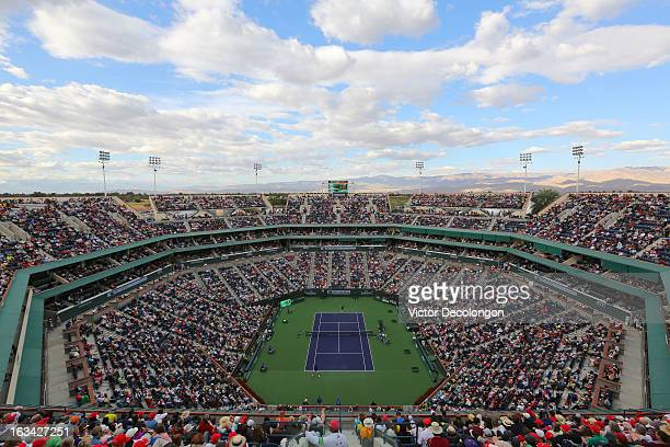 A general view of Stadium 1 during the match between Denis Istomin of Uzbekistan and Roger Federer of Switzerland during Day 4 of the 2013 BNP...