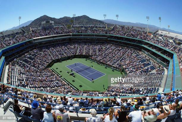 General view of Stadium 1 during the match between Roger Federer of Switzerland and Andre Agassi of the USA won by Federer 46 63 64 during their...