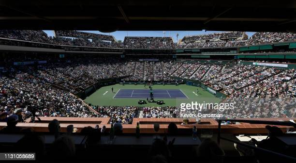 General View of Stadium 1 during the men's singles semifinal match between Milos Raonic of Canada and Dominic Thiem of Austria on day thirteen of the...