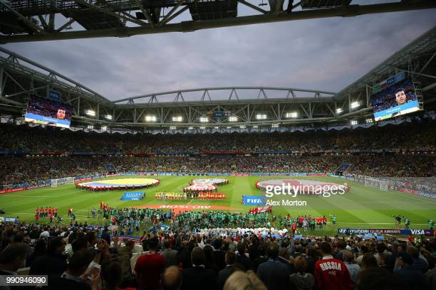 General view of stadium as Colombia and England players line up prior to the 2018 FIFA World Cup Russia Round of 16 match between Colombia and...
