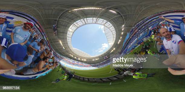 General view of stadium as Fans enjoy the pre match atmosphere prior to the 2018 FIFA World Cup Russia group A match between Uruguay and Russia at...