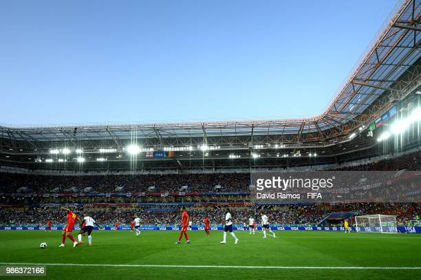 General view of stadium as Moussa Dembele of Belgium holds off Fabian Delph of England during the 2018 FIFA World Cup Russia group G match between...