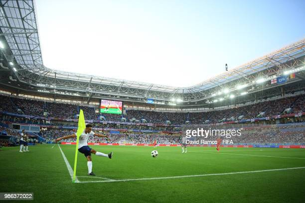 General view of stadium as Trent AlexanderArnold of England takes a corner during the 2018 FIFA World Cup Russia group G match between England and...