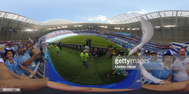 General view of stadium as Uruguay Fans enjoy the pre match atmosphere prior to the 2018 FIFA World Cup Russia group A match between Uruguay and...