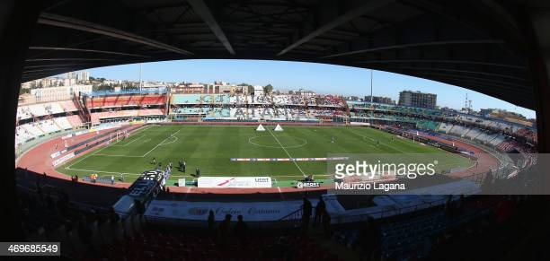 General view of stadium before the Serie A match between Calcio Catania and SS Lazio at Stadio Angelo Massimino on February 16, 2014 in Catania,...