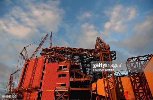 A general view of stadium construction work prior to the UEFA Europa League Round of 16 first leg match between Liverpool and Manchester United at...