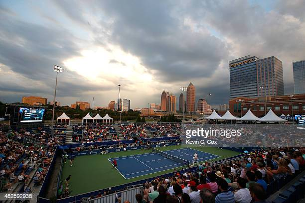 A general view of Stadium court as Marcos Baghdatis of Cyprus serves to Vasek Pospisil of Canada during the BBT Atlanta Open at Atlantic Station on...