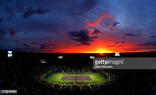 A general view of Stadium Court during a match between Gael Monfils of France and Grigor Dimitrov of Bulgaria during Day 9 of the Miami Open...