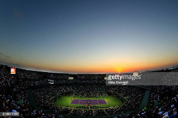 A general view of Stadium Court during a semifinal match between Nick Kyrgios of Australia and Kei Nishikori of Japan during Day 12 of the Miami Open...