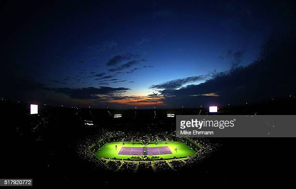 A general view of Stadium Court during Day 8 of the Miami Open presented by Itau at Crandon Park Tennis Center on March 28 2016 in Key Biscayne...