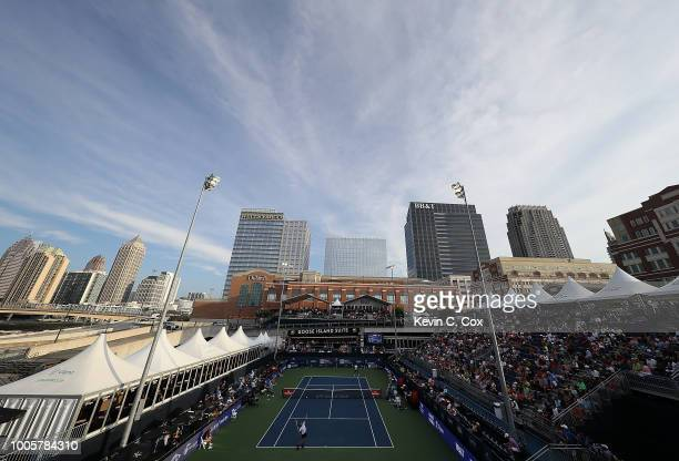 A general view of stadium court during the match between Nick Kyrgios of Australia and Noah Rubin at the BBT Atlanta Open at Atlantic Station on July...