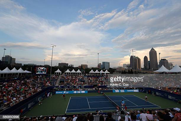 A general view of Stadium Court in the match between John Isner and Reilly Opelka during the BBT Atlanta Open at Atlantic Station on August 6 2016 in...