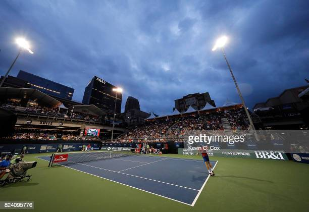 A general view of stadium court in the match between Kyle Edmund of Great Britain and Jack Sock during the BBT Atlanta Open at Atlantic Station on...