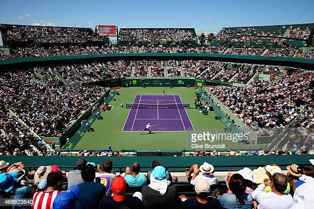 A general view of stadium court showing Andy Murray of Great Britain against Tomas Berdych of the Czech Republic in their semifinal match during the...