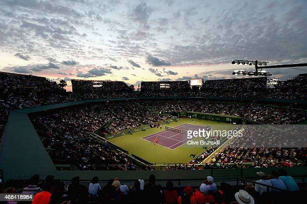 General view of Stadium Court showing David Ferrer of Spain against Novak Djokovic of Serbia in their quarter final during the Miami Open Presented...