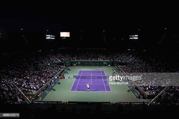 A general view of stadium court showing Novak Djokovic of Serbia against John Isner of the United Staes in their semifinal match during the Miami...