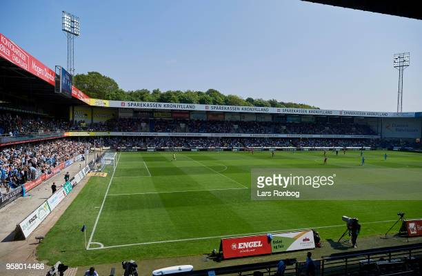 General view of stadium during the Danish Alka Superliga match between Randers FC and FC Helsingor at BioNutria Park on May 13 2018 in Randers Denmark