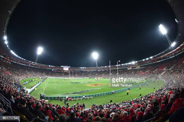 General view of stadium during the match between the Hurricanes and the British Irish Lions at Westpac Stadium on June 27 2017 in Wellington New...