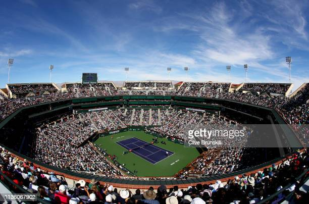 A general view of Stadium One court as Rafael Nadal of Spain plays against Karen Khachanov of Russia during their men's singles quarter final match...
