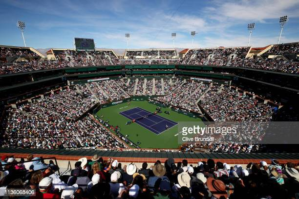 General view of Stadium One court as Rafael Nadal of Spain plays against Karen Khachanov of Russia during their men's singles quarter final match on...
