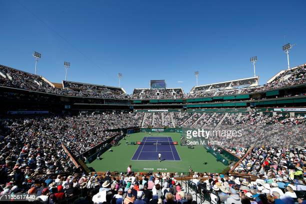General view of stadium one during a match between Roger Federer of Switzerland and Kyle Edmund of Great Britain during the BNP Paribas Open at the...